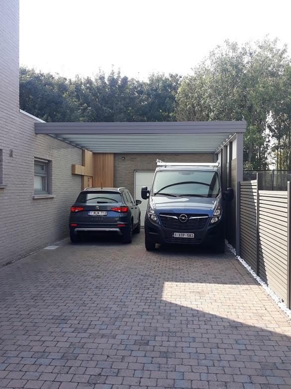 Carport met plat modern dak